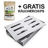 Räuchergarten Smokerbox - Edelstahlbox für Gas-, Kohle- und Elektrogrill - Räucherbox für feinste Raucharomen + E-Book mit Räucherrezepten
