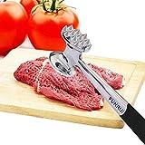ALEENFOON Fleischklopfer Edelstahl Fleischhammer Metall mit Zwei Bearbeitungsflächen Spülmaschinenfest
