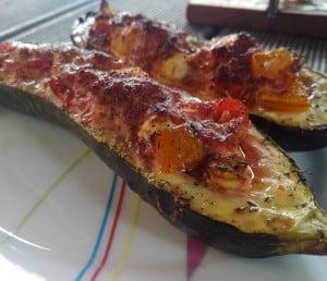 gefüllte Zucchini vom Smoker Grill