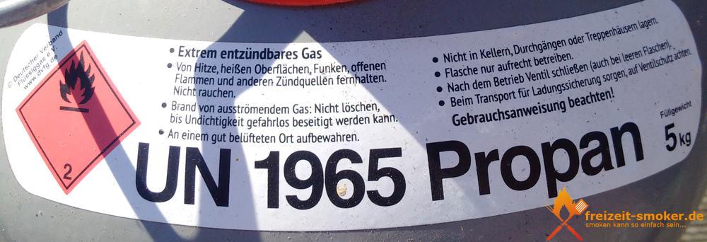 Sicherheitshinweise einer 5 kg Gasflasche