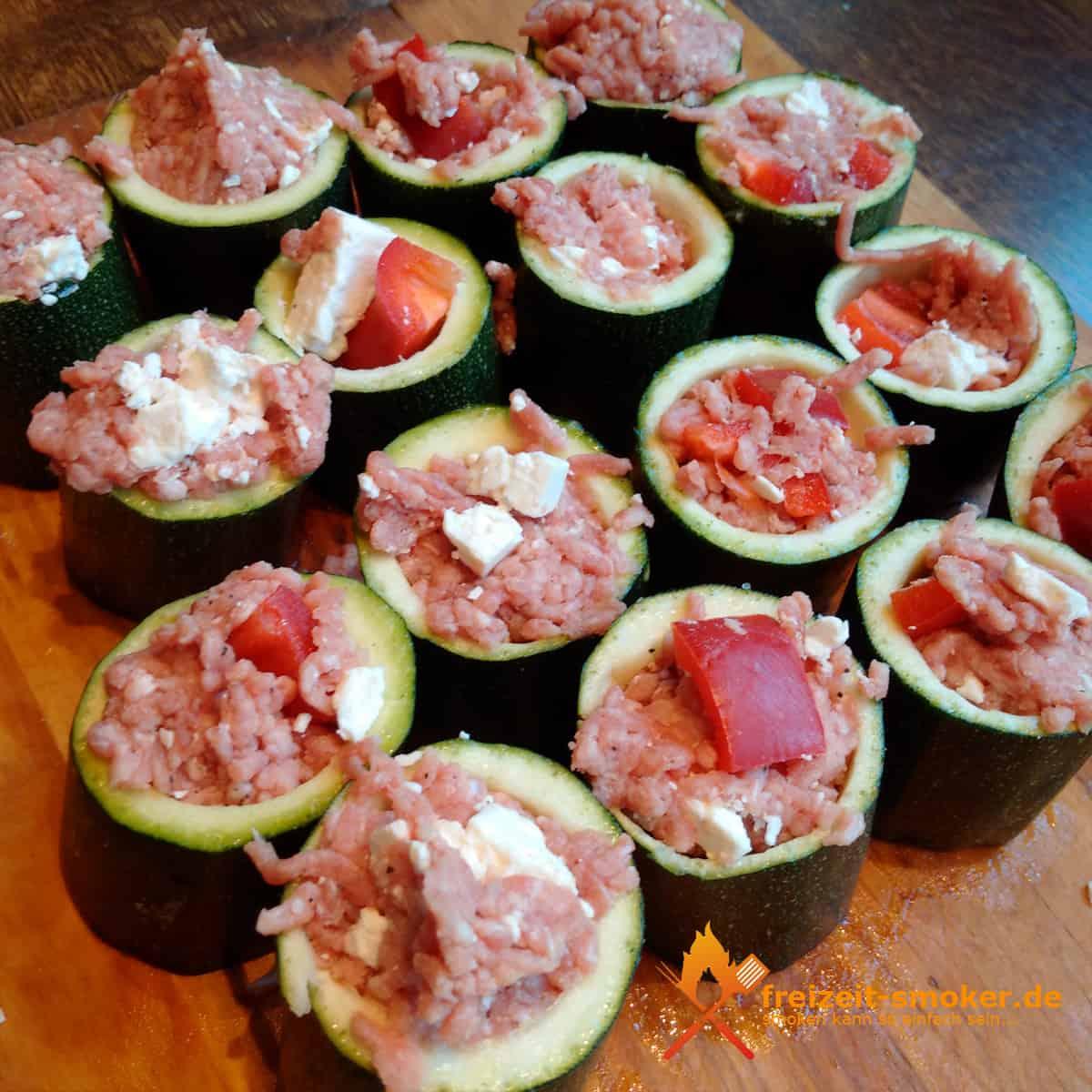 gefüllte zucchini fingerfood vom grill smoker